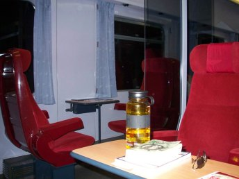 A 1st class compartment on the InterCity