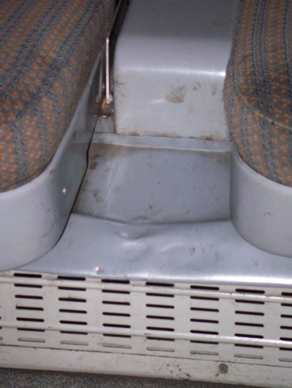 Muck inbetween the seats of a 1st class compartment