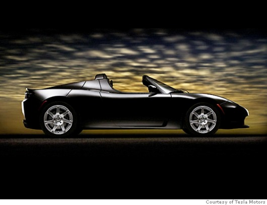 The Tesla Roadster in Black