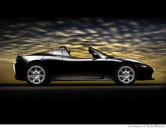 The Tesla Roadster in Black