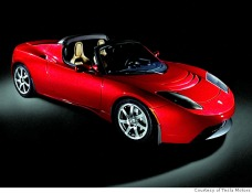 The Tesla Roadster in Red
