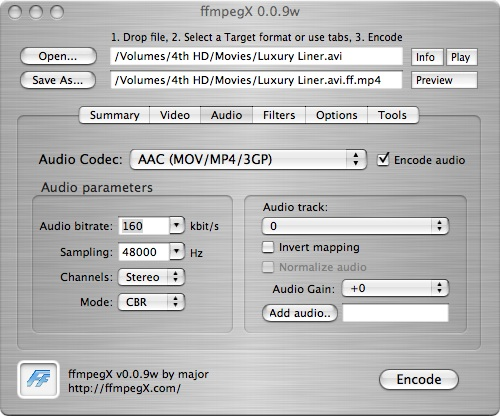 ffmpegx audio screen