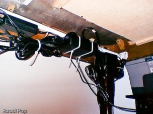 Cable management rack underneath desk