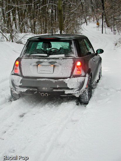 MINI Cooper S on snowy country road