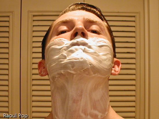 Shaving lotion properly applied to face