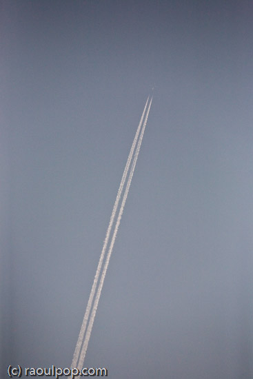 Early morning contrails