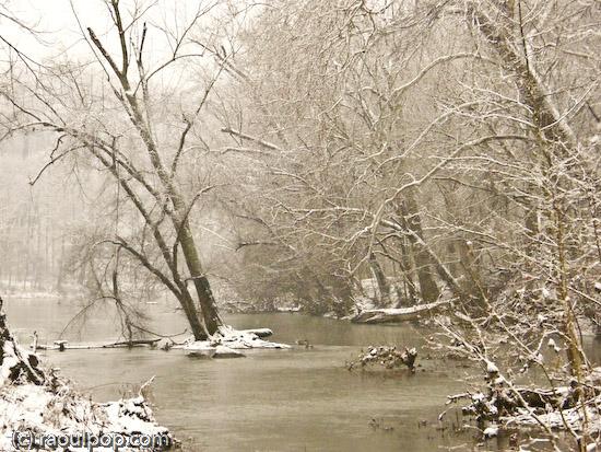 Potomac River during snowstorm