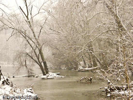 Potomac River during snowstorm