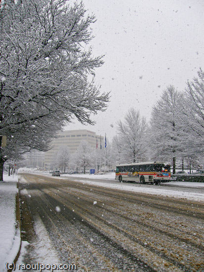 Road at Tyson's Corner during snowstorm