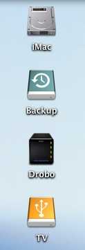 Our iMac and its external drives, including the Drobo