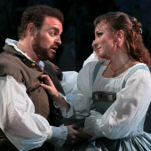 Joseph Calleja as the Duke of Mantua and Lyubov Petrova as Gilda