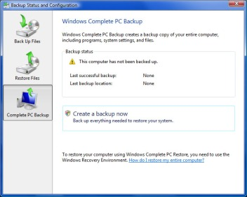 Vista Backup Status and Configuration