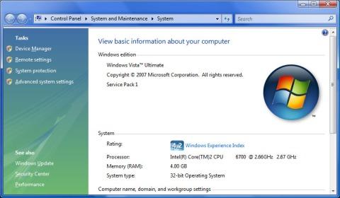 Vista SP1 System Properties