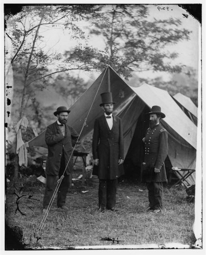 Abraham Lincoln with two generals at Antietam