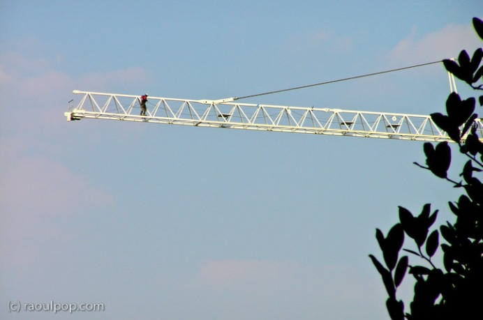 Construction workers on tower crane