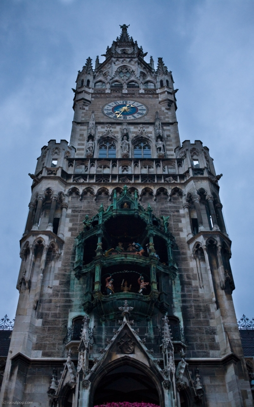 """I'm using """"new"""" in a relative sense here, since it's several centuries old. The fantastic city hall tower contains the famous Rathaus-Glockenspiel. We see it here from below, looking up toward the top."""