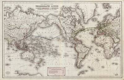 1870 Telegraph Cable Map