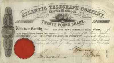 Atlantic Cable Stock Certificate