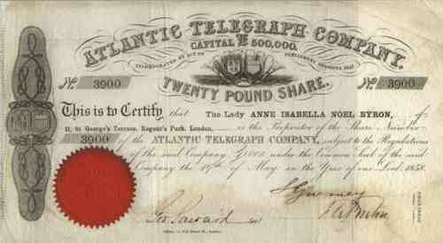 Atlantic Cable Stock Certificate