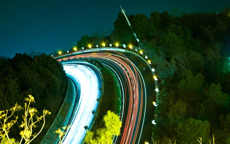 An Italian highway at night
