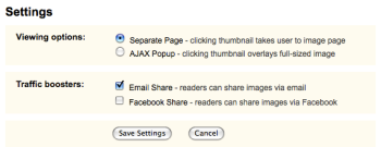 PictureSurf Settings Page