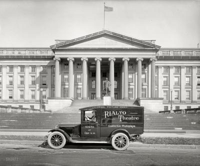 Rialto Theatre truck in front of US Treasury, 1925