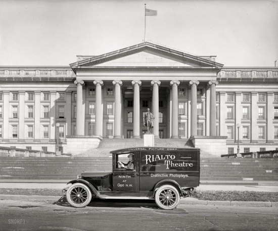 Rialto Theatre truck in front of US Treasury, 1925