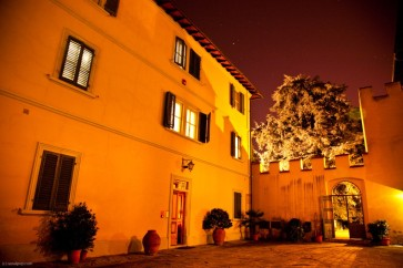 Interior courtyard at night