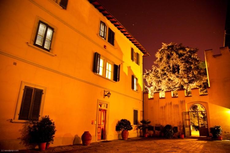 Interior courtyard at night
