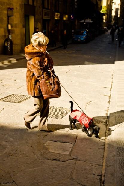 Old lady walking her pooch