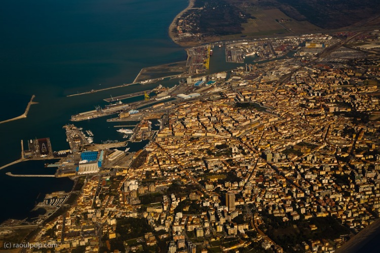 On a Ryanair flight above the city of Livorno, in Tuscany, Italy.