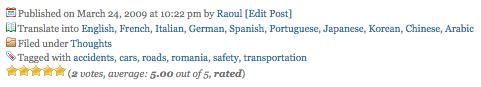 Post header showing auto-translation capabilities