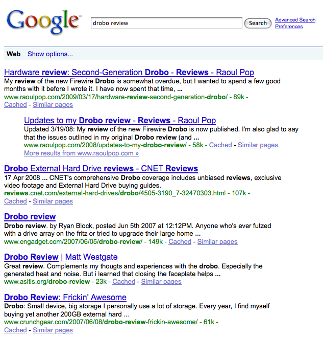 drobo-review-google-search