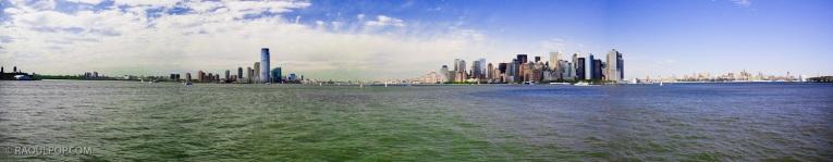 Panorama, New York and Jersey City, Upper Bay, USA.