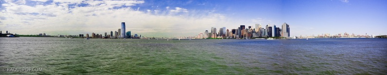 Panorama, New York and Jersey City, Upper Bay, USA.