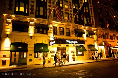 Algonquin Hotel, Manhattan, NYC, USA, at night.