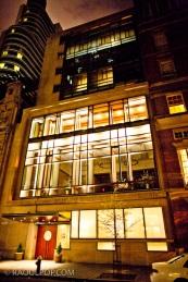 A hotel in Manhattan, New York, USA, at night.