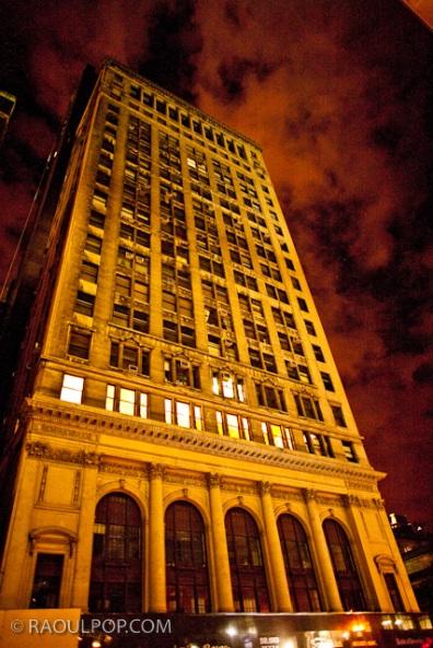 Skyscrapers at night, Manhattan, New York, USA.