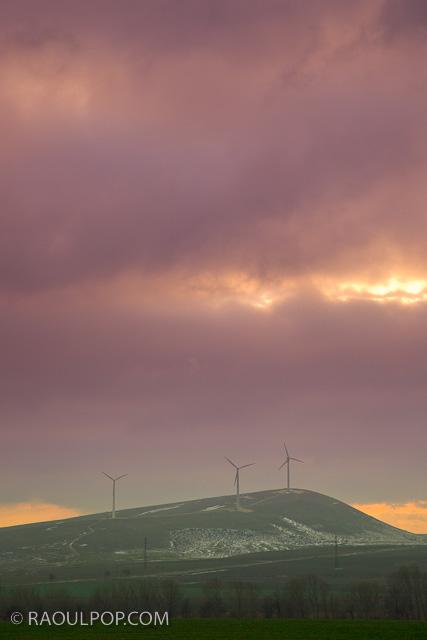 Wind turbines on hillside