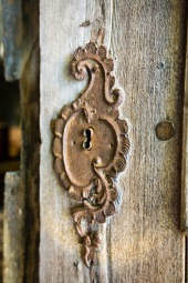 Antique door, fortified church, Biertan, Transilvania, Romania.