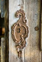 Antique door, fortified church, Biertan, Transilvania, Romania.