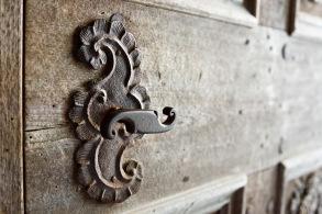 Old door handle, entrance to the church, Biertan, Romania.