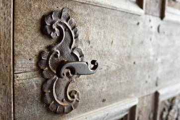 Old door handle, entrance to the church, Biertan, Romania.
