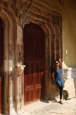 Outside the entrance to a medieval church in the village of Biertan, Transilvania, Romania.