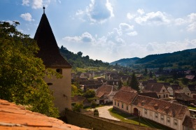 A view of the village from inside the inner walls, Biertan, Romania.