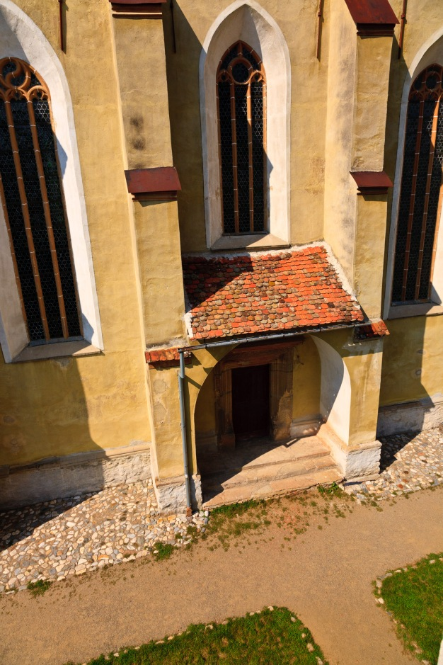 Church entrance as seen from one of the towers, Biertan, Romania.
