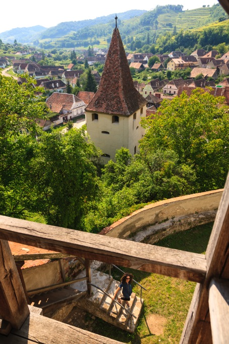 A view of the village from one of the towers inside the inner walls, Biertan, Romania.