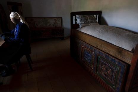 A period room depicting a carpenter's family life. Biertan, Romania.