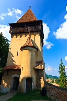 Courtyard inside the inner walls, Biertan, Romania.