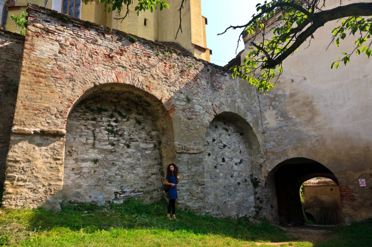 Between the inner and outer fortified walls, Biertan, Romania.